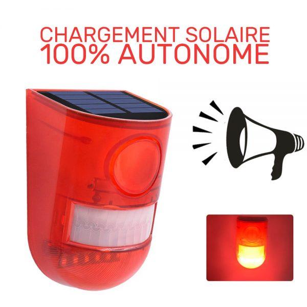 alarme solaire sans fil extérieur lumineuse