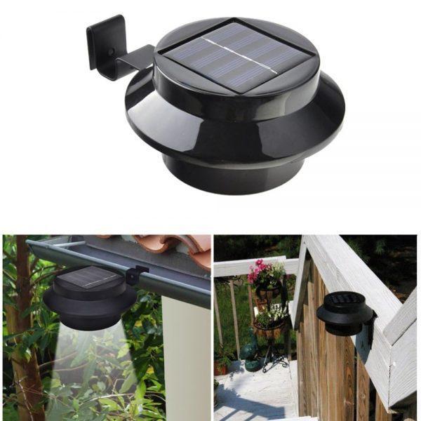 lampe solaire de gouttiere noire