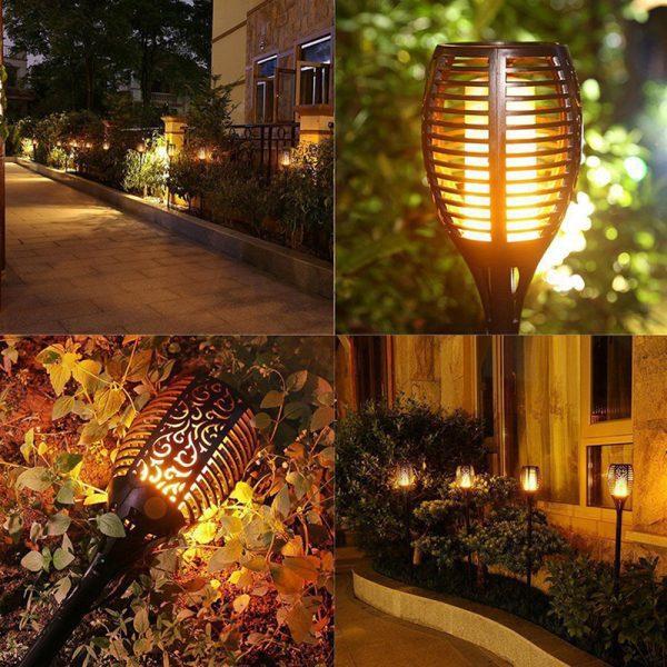 torche solaire effet flamme jardin