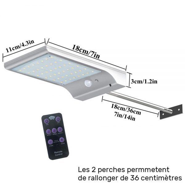 Lampe solaire extérieur avec télécommande dimensions