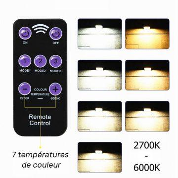 Lampe solaire extérieur avec télécommande température couleur réglable