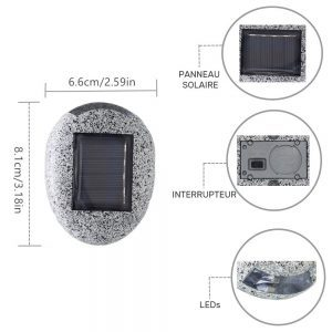 lampe solaire imitation pierre dimensions
