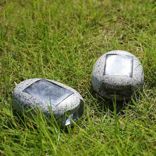 lampe solaire imitation pierre extérieur