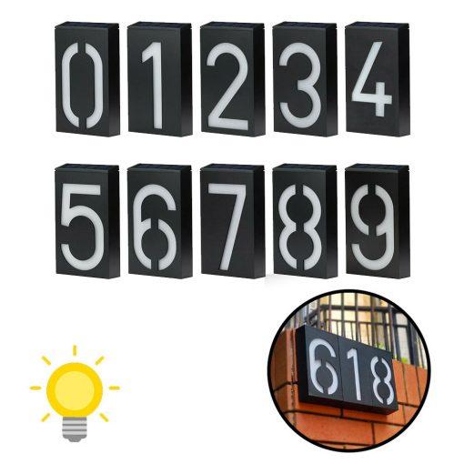 numéro de maison lumineux solaire