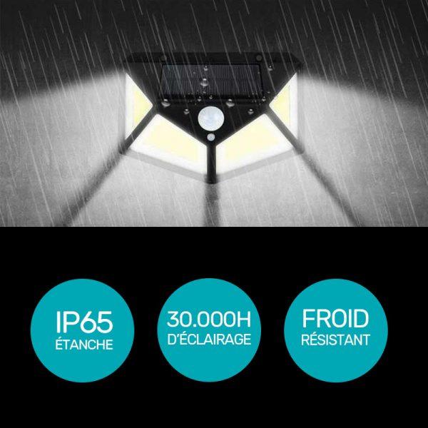 projecteur solaire 120 led avec détecteur de mouvement étanche