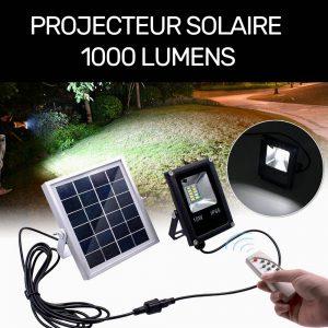 Projecteur solaire led 1000 lumens avec télécommande