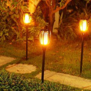 torche led solaire effet flamme