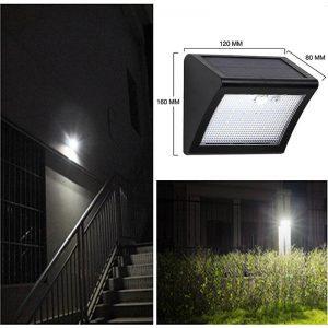 Lampe murale solaire LED avec détecteur de mouvements extérieur