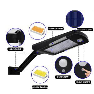 Éclairage extérieur solaire détecteur de mouvement led