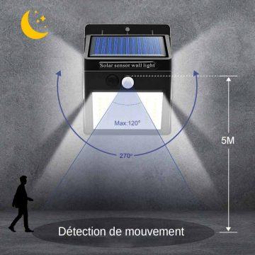 Lampe solaire extérieur 100 LED avec détecteur de mouvement
