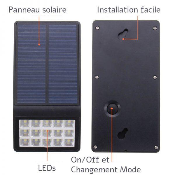 Lampe solaire extérieur plate jardin