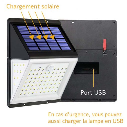 Lampe solaire extérieur télécommande usb