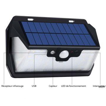 Lampe solaire rechargeable USB extérieur