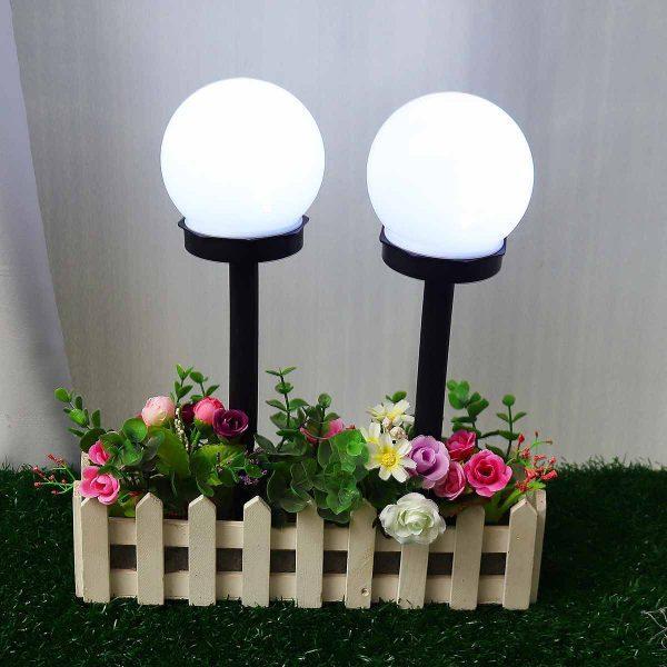 Lampe solaire à planter ronde extérieur jardin