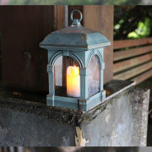 lampe solaire rustique bleue