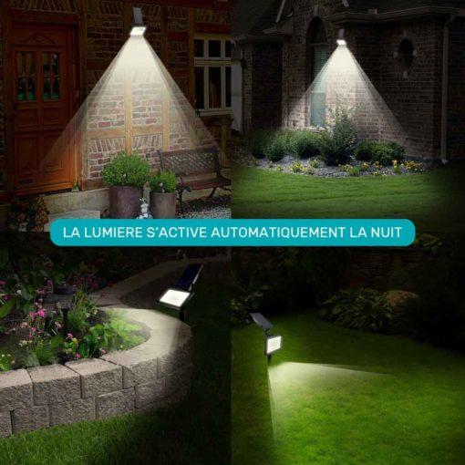 avantage éclairage solaire : s'allume automatiquement la nuit