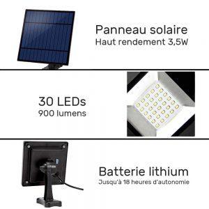 projecteur solaire déporté led