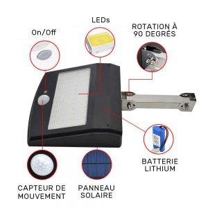 Projecteur solaire extérieur avec télécommande forte puissance