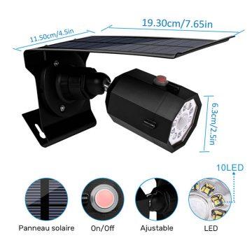 Projecteur solaire extérieur LED avec détecteur de mouvement jardin