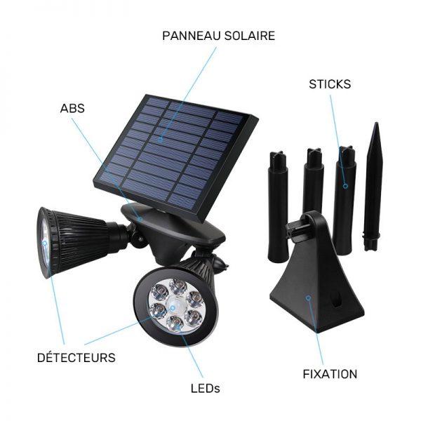 spot solaire double tête