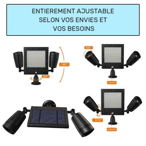 double projecteur solaire extérieur