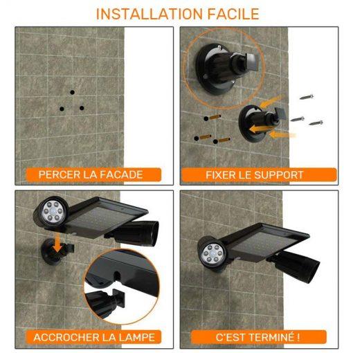 double projecteur solaire installation