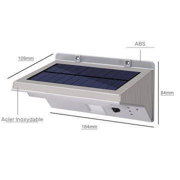 Éclairage extérieur solaire avec détecteur de mouvement puissant dimensions