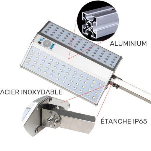 Éclairage extérieur solaire avec détecteur et télécommande inox