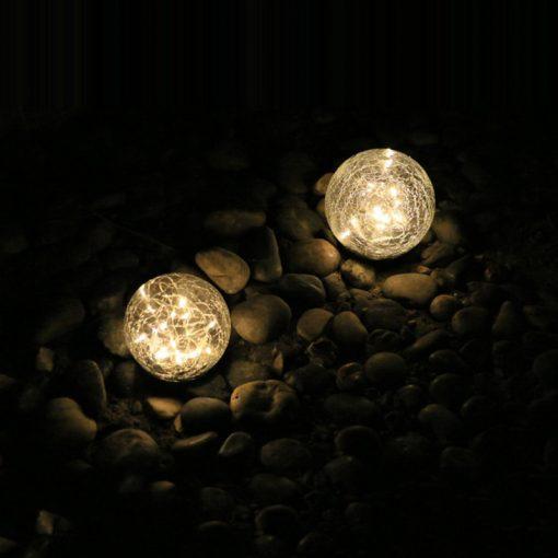 Lampe solaire boule verre craquelé extérieur