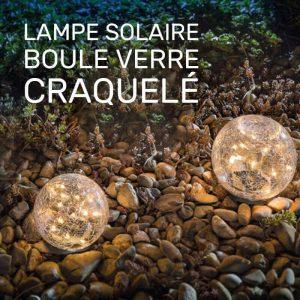 Lampe solaire boule verre craquelé jardin