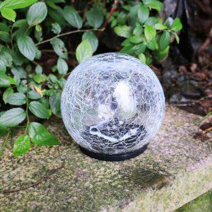 Lampe solaire boule verre craquelé led