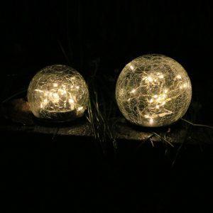 Lampe solaire boule verre craquelé pas cher