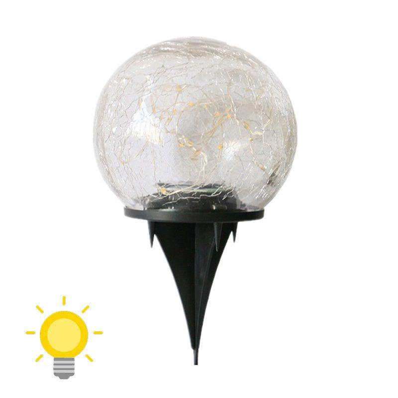 Lampe solaire boule verre craquelé