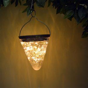 lampe solaire cone lumière chaude