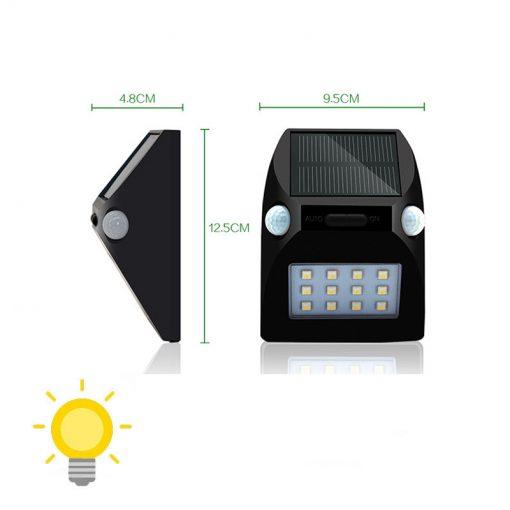 Lampe solaire avec détecteur de mouvement double led