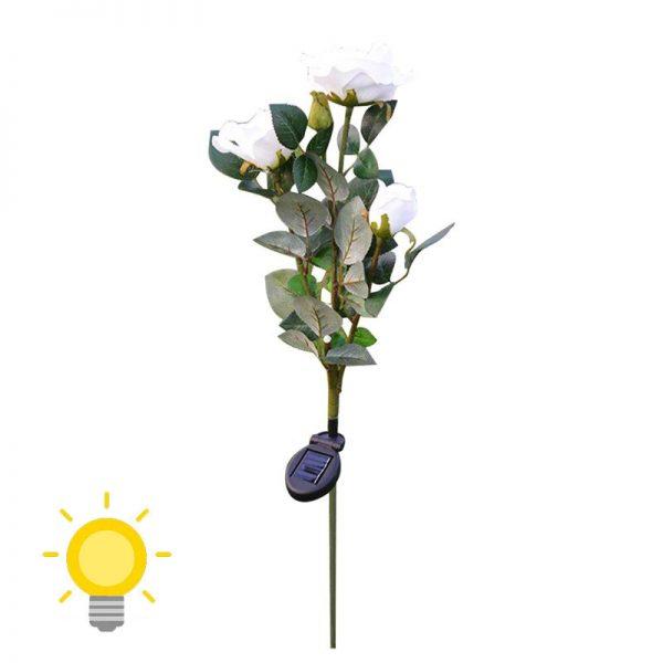lampe solaire fleur jardin blanche