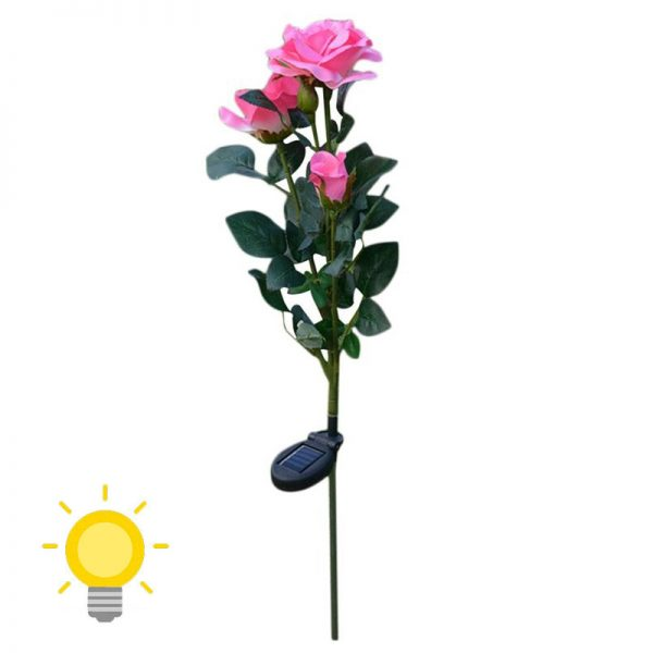 lampe solaire fleur jardin rose