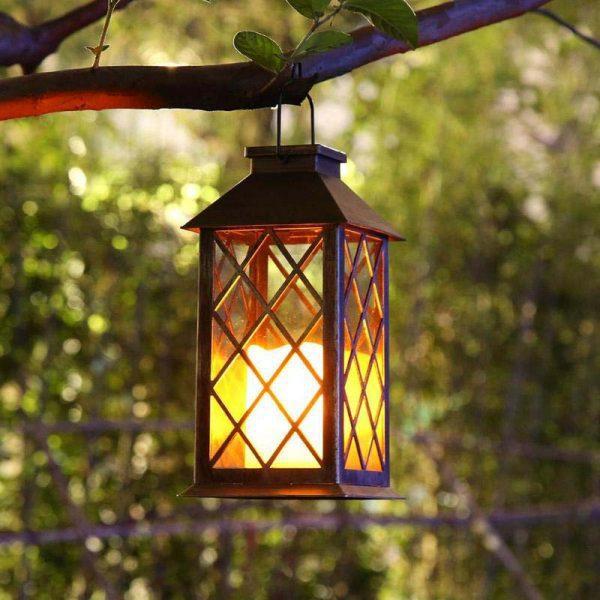 lanterne solaire rétro flamme