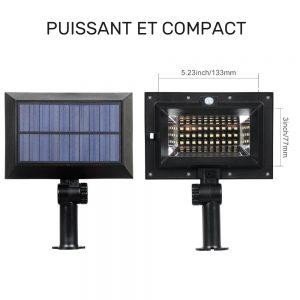 projecteur solaire gouttière dimensions