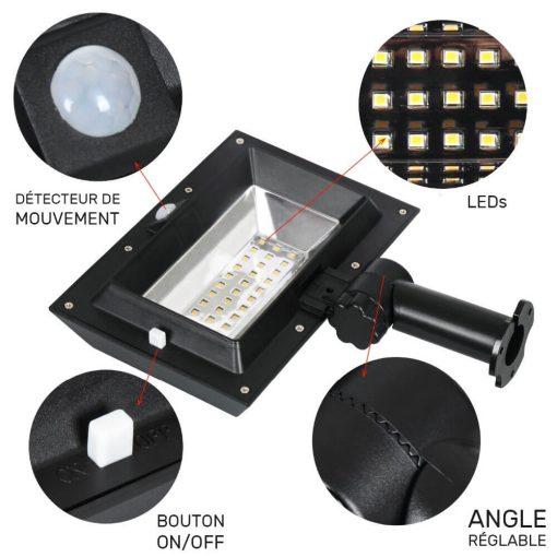 projecteur solaire gouttière led