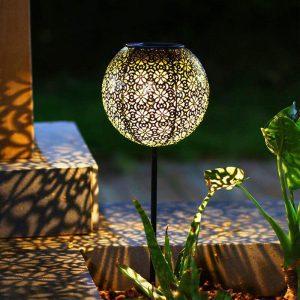 lanterne solaire à planter ronde