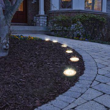 spots solaires led ronds encastrables jardin