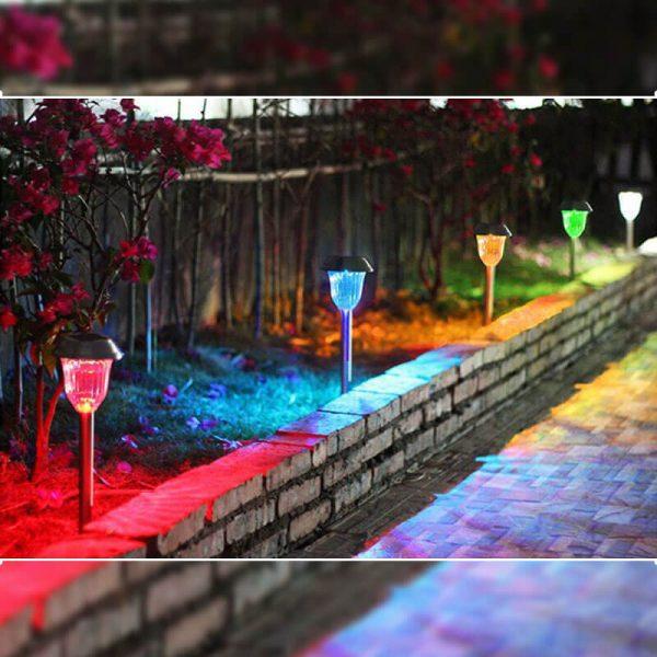 borne solaire jardin led couleur
