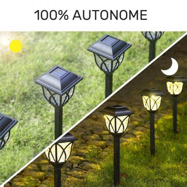 borne solaire noire LED