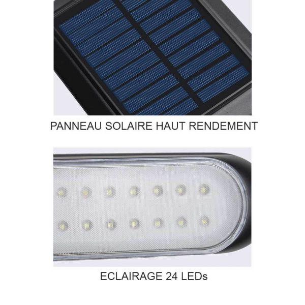 eclairage solaire avec panneau deporté jardin