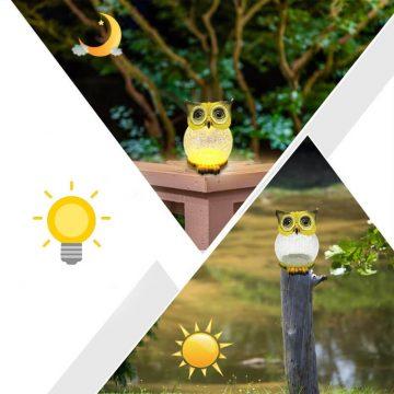 hibou solaire jardin lumineux