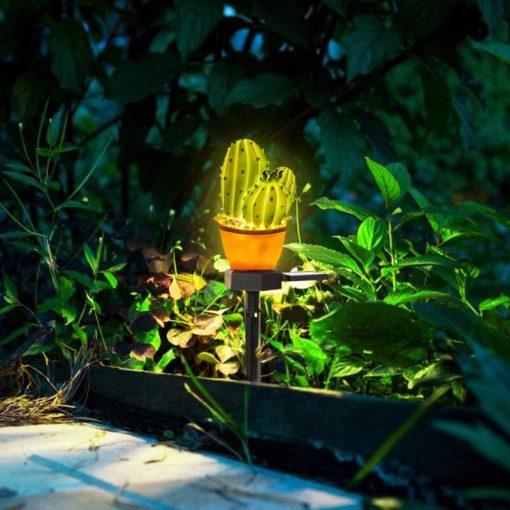 lampe solaire cactus jardin