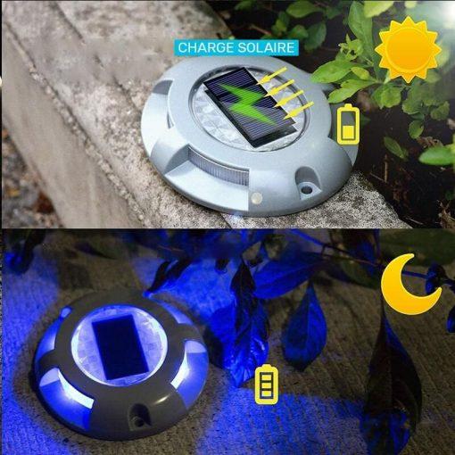 spot solaire éclairage bleu terrasse