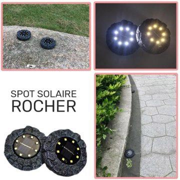spot solaire forme rocher jardin