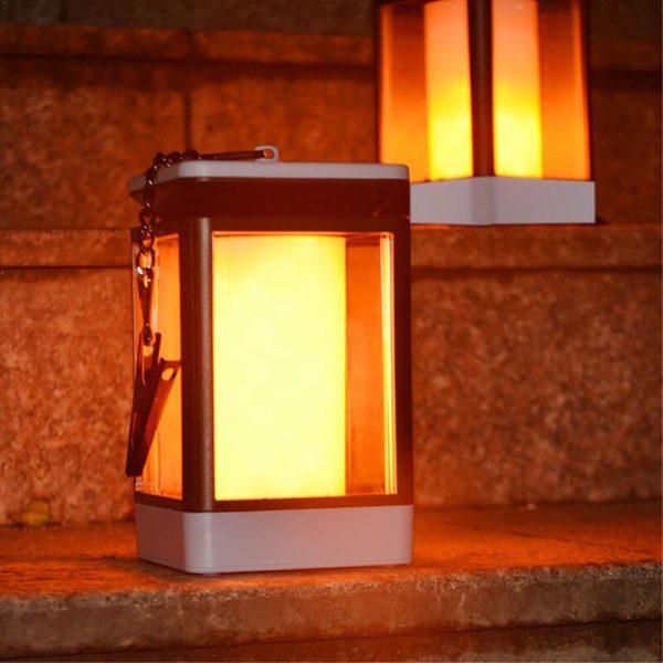 lanterne solaire avec flamme vacillante exterieur